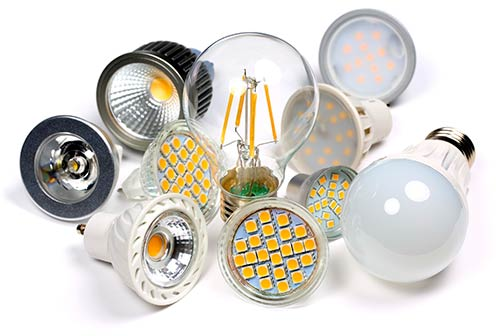 Several different types of light bulbs shown together